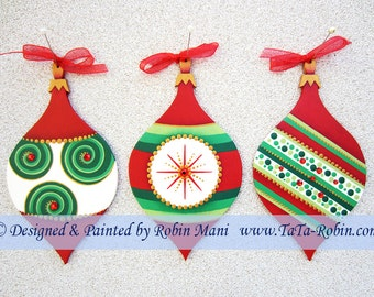 271 A Trio of Contemporary Ornaments - Decorative Painting Pattern Packet - Hand Painted Red & Green Ornaments - Reinstones- Swirls- Stripes