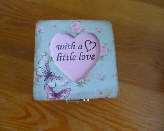 handcrafted trinket box with decoupage