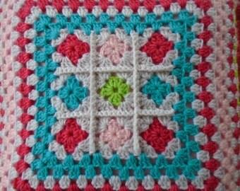 Crochet pink pillow