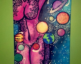 Handmade Painting of womans body and galaxy