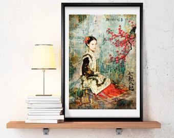 Asian girld -Asian, China, Japan, color, Ancient, Home deco, elegant- ref.04