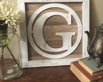 Rustic Wood Monogram Framed Initial Reclaimed Wall Art