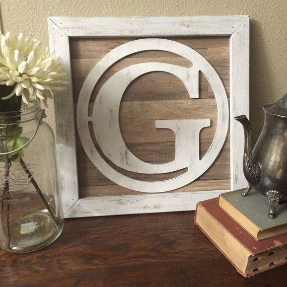 Rustic Monogram Wall Decor : Rustic wood monogram framed initial reclaimed wall art