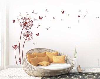 Wall decals dandelion seeds flying butterflies dandelion wall sticker wall sticker living room - dandelion wall decal vinyl decor w312