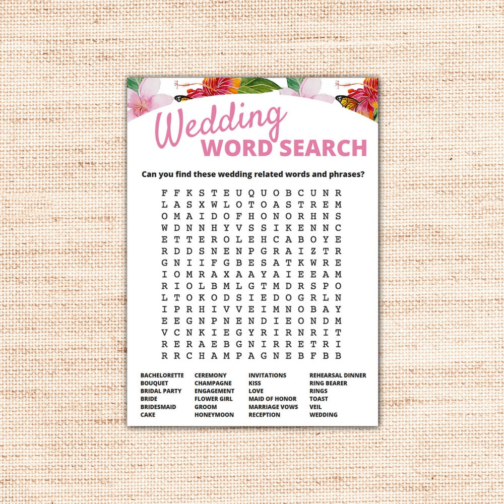 Tropical Wedding Word Search Game Cards Printable Instant
