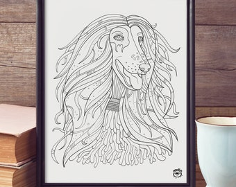 Afgan Hound Dog A4 A5 illustration, print, art, dog print, dog drawing, afgan hound illustration, afgan hound drawing