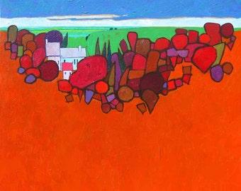 Canvas oil painting 30X30 canvas large oil painting, tree landscape, autumn landscape, large original oil painting, autumn oil painting