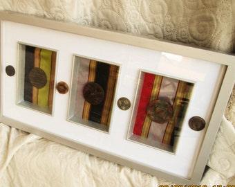 Vintage Mixed Media Art, chinese fabric art, silk fabrics, antique buttons, modern art, silver framing, handmade art, housewarming gifts