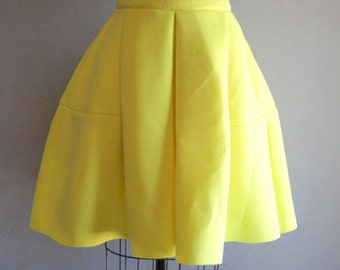 Vintage 90s Neon Yellow Gumuxi Club Kid A Line Neoprene Skirt