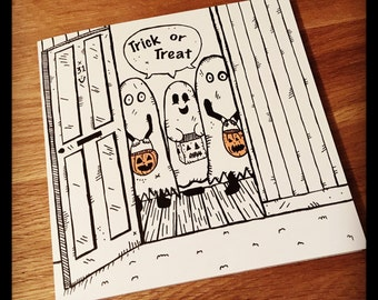 Trick or Treat! Halloween greeting card ghosts!