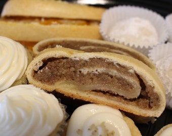 Large Walnut Kolache, Large Apricot Kolache, Large Poppyseed Kolache, Large Raspberry Kolache (Hungarian Nut Roll)