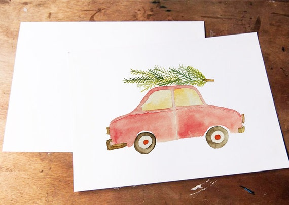 Aquarell Christmas Tree and Car Illustration, Clipart, Watercolor, Weihnachtsillustration, Clipart, Scrapbook