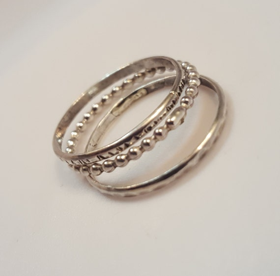 Ladies Sterling Silver Stacking Rings - Triplet Stacking Bands