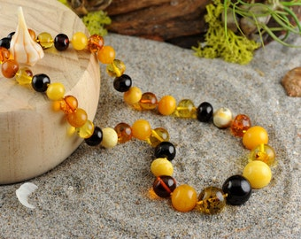 Baltic Amber Necklace Multicolored Round Beads