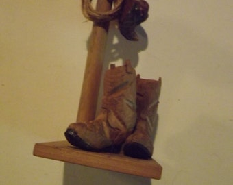 Hand Carved Western Boots and Hat