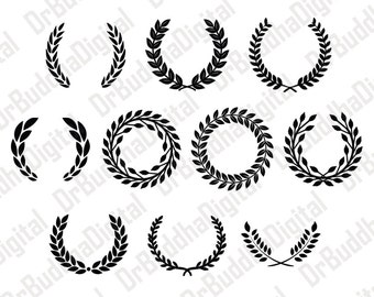 Sale! Laurel Wreath Monogram Frame SVG Collection - Leaf Wreath DXF - Wreath Clipart - SVG Files for Silhouette Cameo or Cricut
