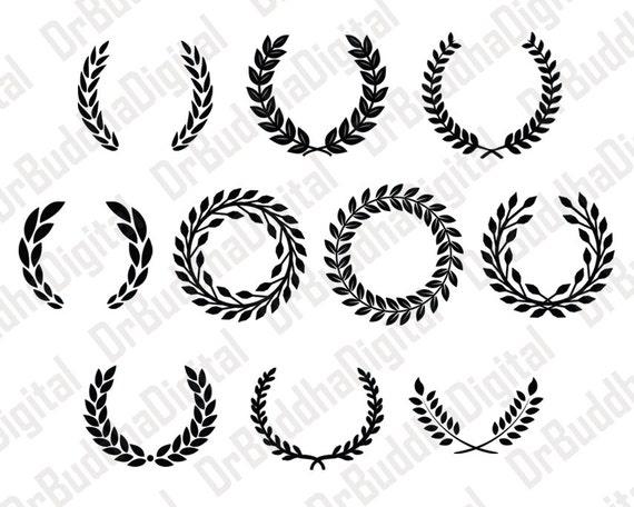 verkauf lorbeerkranz monogramm svg rahmensammlung leaf