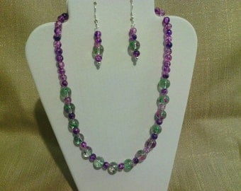209 Sweet Dainty Spray Painted, Violet and Green Round Glass Beaded Choker