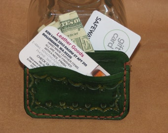 Green Three slot card and cash case 204