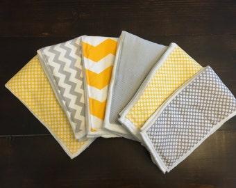 Yellow and Gray Burp Cloth Set