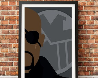 Nick Fury - Minimalist film poster - Unique art print A4/A3 (introductory offer)