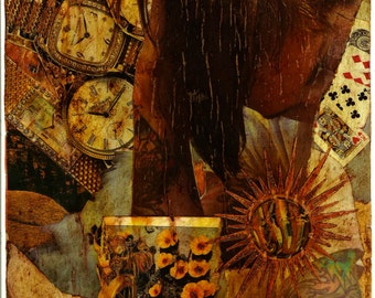 OOAK collage 9x12 Wrapped Up Like A Spool