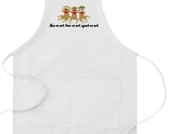 "Sock Monkey Embroidered ""Hear No Evil, See No Evil, Speak No Evil"" apron"