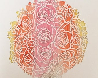 Bouquet: hand-made papercut and watercolor