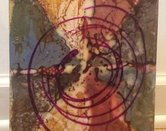 """Original Abstract Encaustic Painting 6"""" x 8"""" titled """"Circus """""""