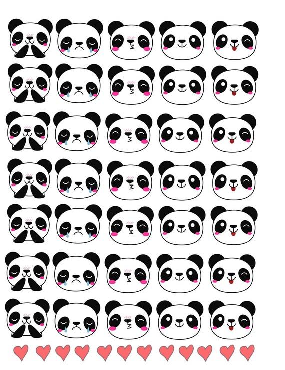 Kawaii Panda Face Planner Stickers Happy Panda Sad Panda