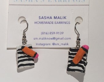 Pencil and pad earrings