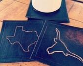 Set of four handcrafted leather home state leather coasters; coasters; housewarming; wedding; map; texas; UT; leather coaster