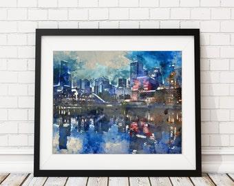 Melbourne Watercolor Print - Melbourne Skyline Painting - Australia Watercolor Painting- Melbourne Painting - Art Print - Cityscape Wall Art