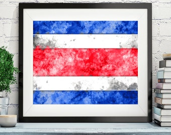 Cost Rica Flag Art, Cost Rica Flag Print, Flag Poster, Country Flags, Watercolor Painting, Watercolor Flag, Poster, Costa Rican Gifts