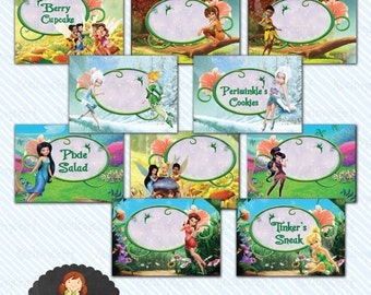 Digital Printable Tinkerbell Food Label/ Table Tent - Instant Download
