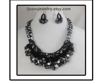 Black and White Crochet Polymer Clay Beaded Necklace and Earring Set