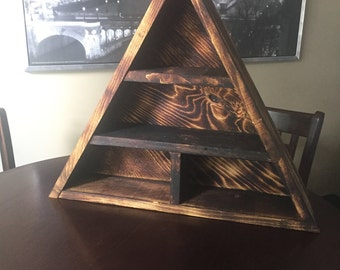 Triangle Crystal and Mineral Rustic Wood Shelf