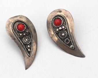 Vintage Silver Paisley Shape Earrings
