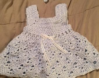 Handmade Crochet Light Blue/white Lace Stitch dress