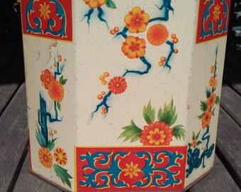 Oriental Style Vintage Tin Tea Caddy