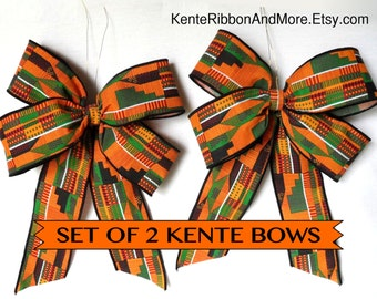 """Set of 2 KENTE BOWS - 9"""" x 11.5"""" Approx. - LARGE - Includes gold attachment wire"""