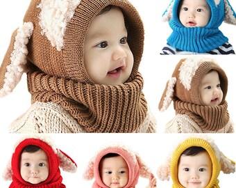 Baby Kids Winter Beanie Warm Hat Hooded Scarf Earflap Knitted Cap Girls Boys