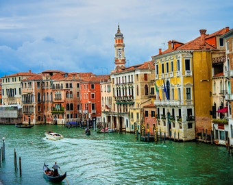 Venice Italy Gondolas in canal, Venice Italy, Vacation in Italy, Europe Classic Photo, Venice Canvas Print, Venice wall art, Large wall art