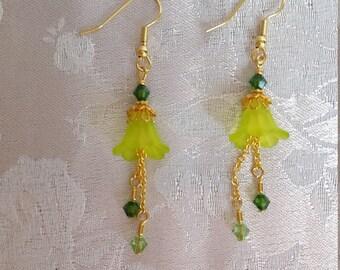 Green Flower Dangle Earrings with Swarovski Crystals Peridot Fern Green Gold