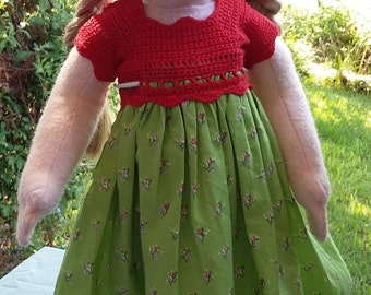 Red and green summer dress