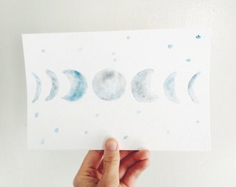 moon phases watercolor