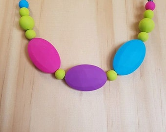 Rainbow Silicon Beaded Necklace