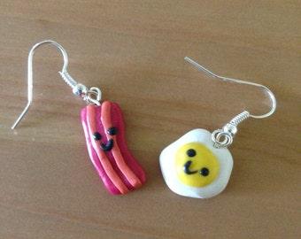 Cute Bacon and Eggs Earrings