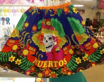 Handmade skirt; Day of the Dead design