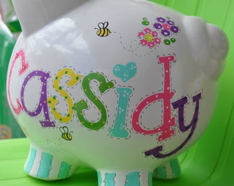 Personalized Large Piggy Bank - Girl's Room Hand Painted Bees, Butterflies & Flowers Design Ceramic Piggy Bank with Name